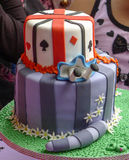 Birthday cake. Alice in Wonderland theme cake Royalty Free Stock Photo