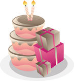Birthday Cake And Gift Boxes. Stock Image