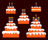 Birthday cake. Birthday or anniversary cake with one, two, three, four and five candles Royalty Free Stock Photos