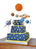 Birthday cake with astronomy theme. Birthday cake decorated with all the planets of the solar system Royalty Free Stock Images