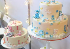 Birthday cake for babies. Happy birthday baby Royalty Free Stock Photography