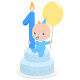 Birthday cake baby boy Royalty Free Stock Image