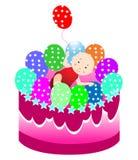 Birthday cake with baby Royalty Free Stock Photos