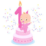 Birthday cake baby girl Stock Photos