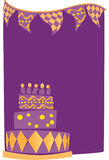 Birthday Cake Background. A birthday cake on a purple background Stock Photo