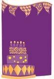 Birthday Cake Background. A birthday cake on a purple background Vector Illustration