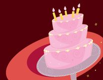 Birthday cake background. Pink layer birthday cake on a red background Stock Images