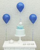 Birthday cake, ballons and presents for boy 3d. Birthday cake,blue ballons and presents for boy party on the background of brick wall, 3d render Stock Images