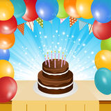 Birthday cake balloons and bunting background Stock Photos