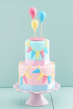 Birthday cake with balloons Royalty Free Stock Images