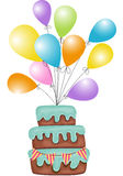 Birthday cake with balloons Royalty Free Stock Photos