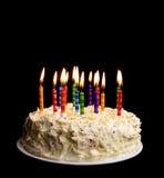 Birthday cake on black Stock Images