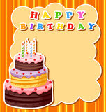 Birthday cake with blank sign royalty free illustration