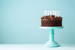 Birthday cake with blown out candles. Chocolate birthday cake with blown out candles royalty free stock image