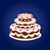 Birthday cake on blue background Royalty Free Stock Photos