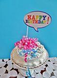 Birthday cake with blue background Royalty Free Stock Photography
