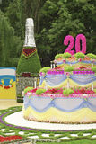 Birthday cake and a bottle Royalty Free Stock Photo