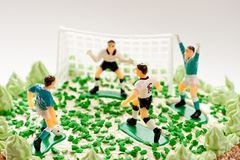 Birthday cake for boy with football players Royalty Free Stock Photos