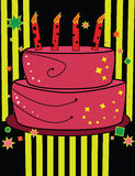 Birthday cake in bright colors. With yellow and black background Royalty Free Illustration
