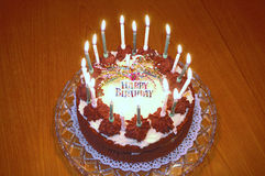 Birthday Cake - burning Royalty Free Stock Photography