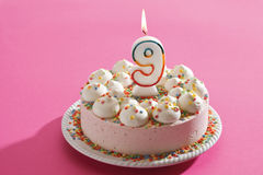 Birthday cake with burning candle Royalty Free Stock Photography