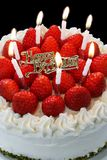 Birthday cake with burning candles Royalty Free Stock Images