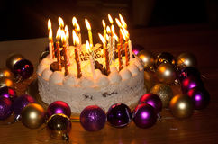 Birthday Cake with Burning Candles Stock Images