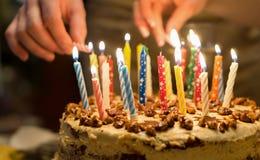 Happy Birthday Cake Burning Candles Stock Photos 1204 Images