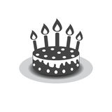 Birthday cake with burning candles pictogram icon. Simple pictogram for celebration, marketing, internet concept on white background. Trendy modern vector Royalty Free Stock Image