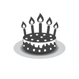 Birthday cake with burning candles pictogram icon. Simple pictog Royalty Free Stock Photos