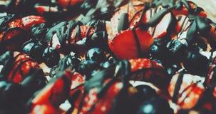 Birthday cake. Cake with strawberry slices. sweet dessert rotating. stock footage