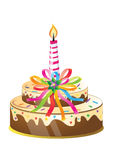 Birthday cake and candle stock illustration