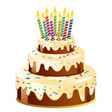 Birthday cake and candle. Vector Illustration Royalty Free Stock Photography
