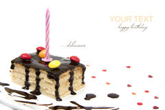 Birthday cake with candle. Happy birthday with a delicious cake Stock Image