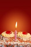 Birthday cake with a candle Stock Photography