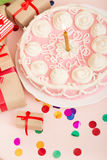 Birthday cake with candle Royalty Free Stock Images