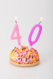 Birthday cake and candle for age 40 stock photo