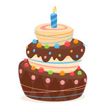 Birthday cake with candle and chocolate frosting. Royalty Free Stock Images