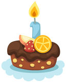 Birthday cake with candle. Illustration of isolated birthday cake with candle Stock Images