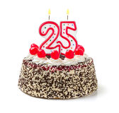 Birthday cake with candle number 25 Royalty Free Stock Photo