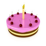 Birthday cake with candle over white Royalty Free Stock Photography