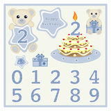 Birthday cake and candle vector Cute baby boy bears vector illustration with star and numbers symbol Cartoon baby animal vector Ha Stock Photos