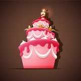 Birthday cake with candle. Vector illustration of Birthday cake with candle Stock Photography