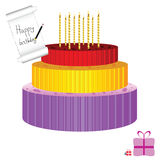 Birthday cake with candle vector illustration Stock Photo