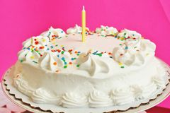 Birthday cake with 1 candle Royalty Free Stock Photo