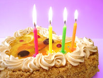 Birthday cake and candles Royalty Free Stock Photography