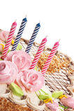 Birthday cake with candles Stock Image