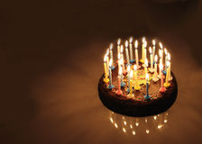Birthday cake. Cake with candles for a birthday royalty free stock photography