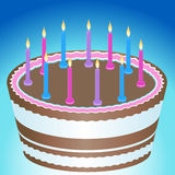 Birthday Cake and Candles. 3D birthday cake with colorful lit candles Stock Photo