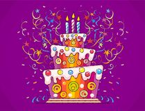 Birthday cake with candles. Birthday cake with burning candles and serpentine for holiday. Sweet gift with confetti and stars. Hand drawn vector illustration in Stock Images
